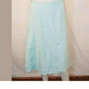 Eileen Fisher Blue A-line Hankerchief Linen Skirt